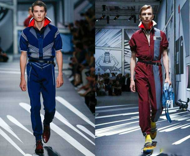 if the trend repeats once every 20 years, 70 s, 90 s passed, and it is time the jumpsuit reappear. We saw the Prada boy wearing jumpsuits in Collections Men.