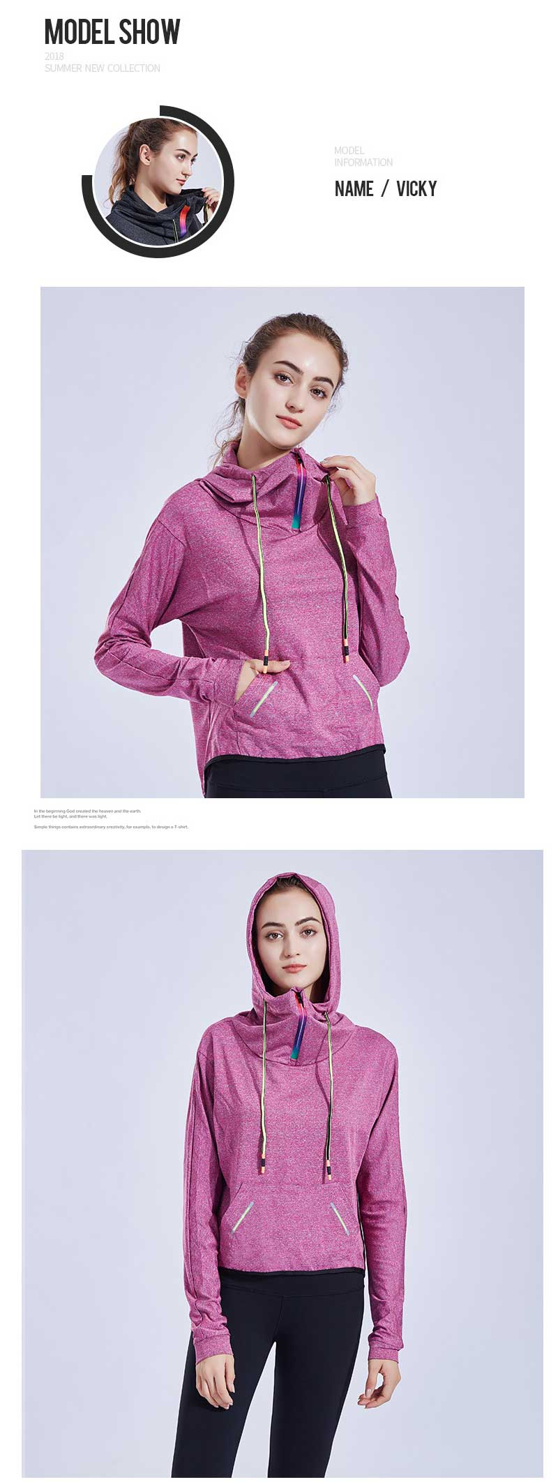 Funnel-neck-hoodie-model-show-pink-color