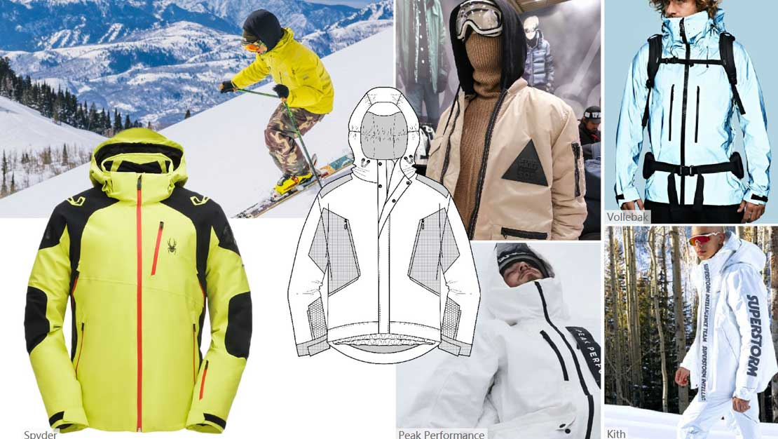 The ski jacket is made of soft shell fabric, which is not only light and keep warm, but also weatherproof.