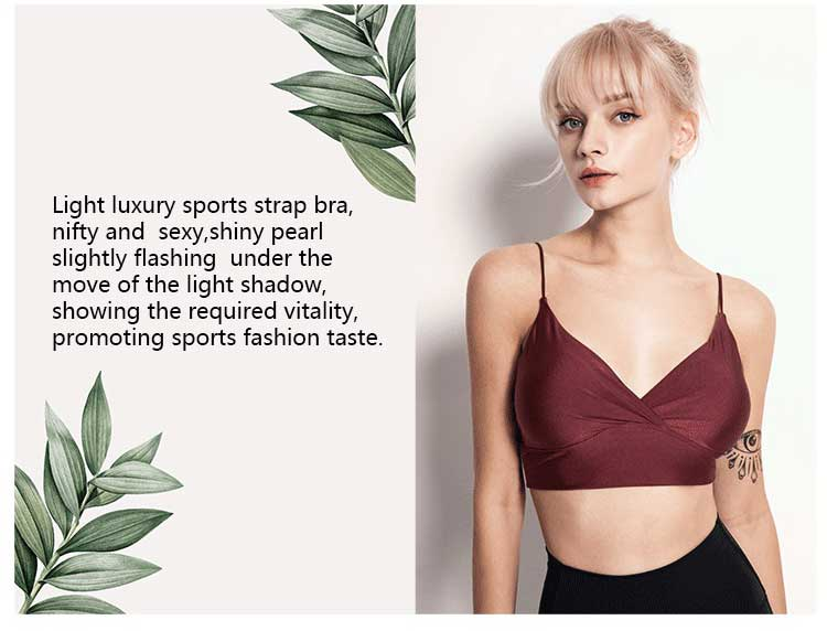 light luxury sports strap bra, nifty and sexy,shiny pearl slightly flashing under the move of the light shadow, showing the required vitality, promoting sports fashion taste.