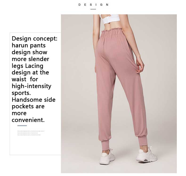 Design concept: harun pants design show more slender legs .Lacing design at the waist for high-intensity sports. Handsome side pockets are more convenient.