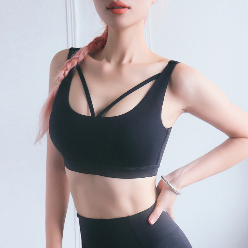 High intensity sports bra exercise bra with shockproof and gathered,fashional beautu back running fitness bra wearing on both sides