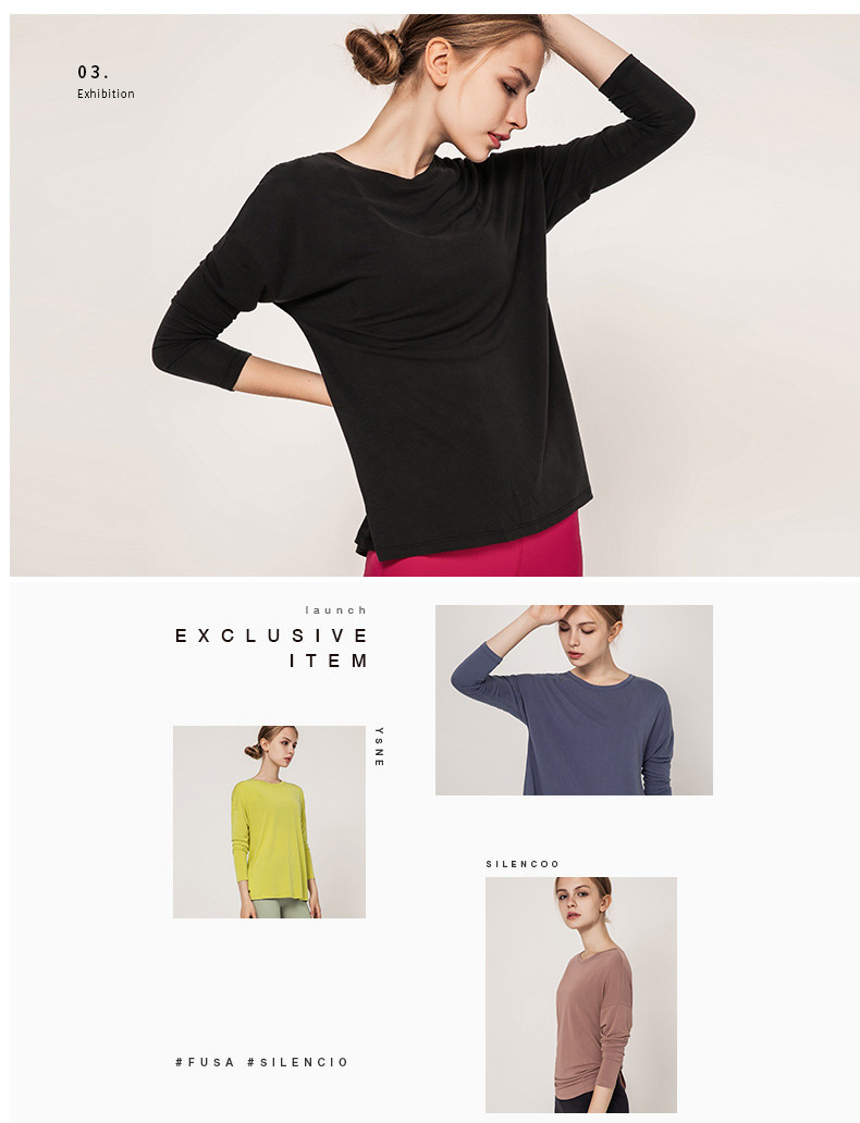 Long sleeve yoga tops shirts slit yoga tops for women