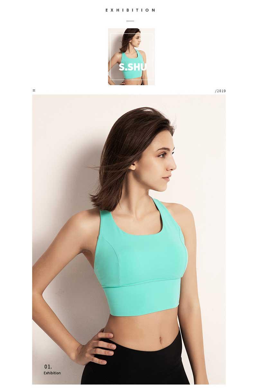 The back sports bra uses an angular neckline
