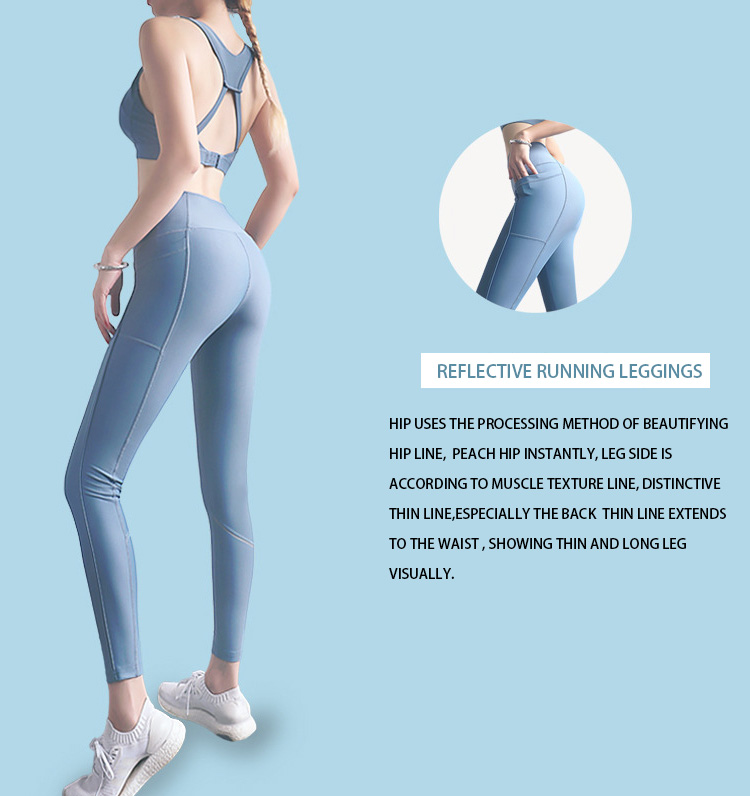 This reflective running leggings fitness pants are made of comfortable fabric,wrapping more stronger and tighter to show good figure