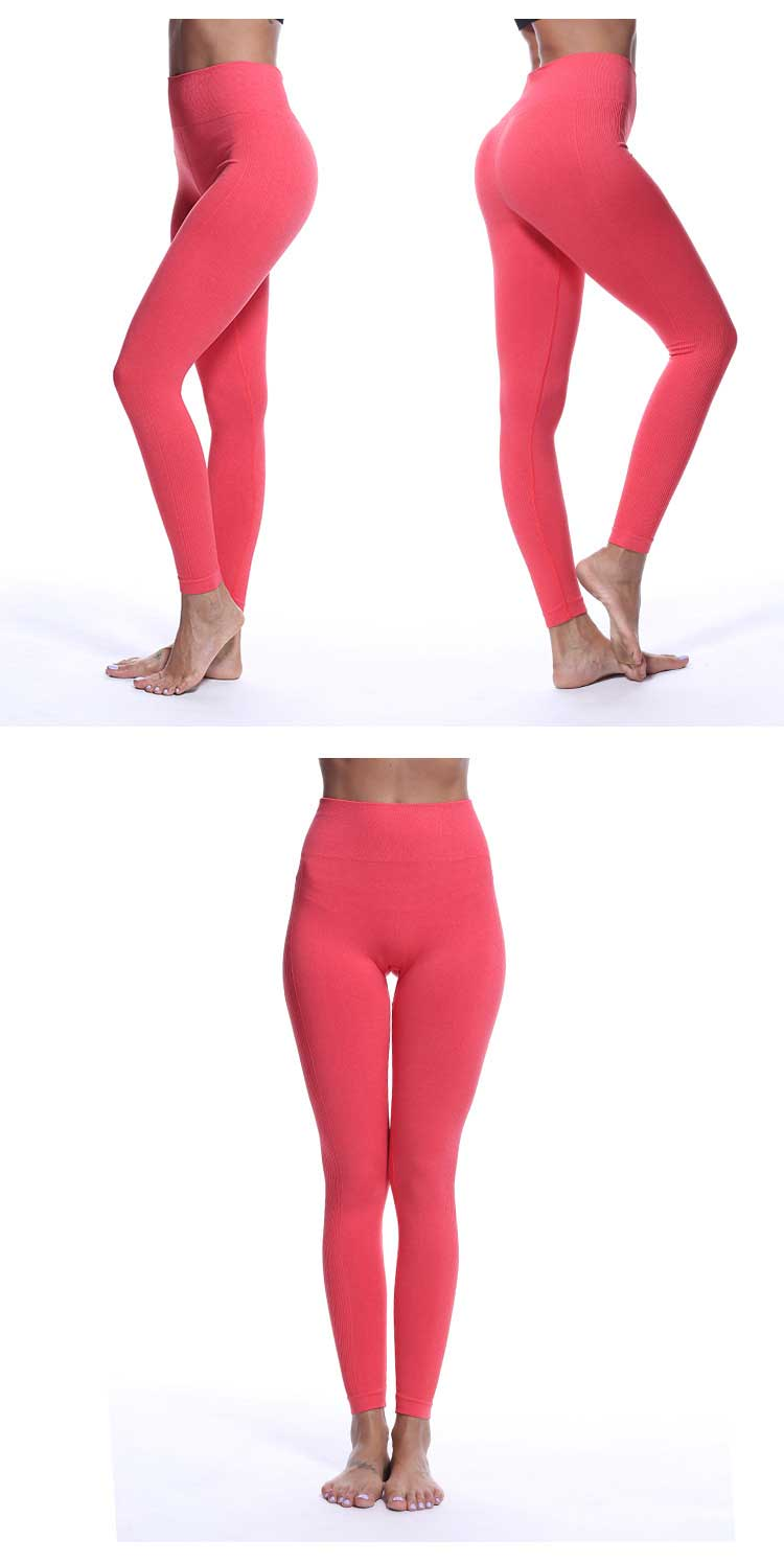 Orange-red-display-for-seamless-high-waisted-leggings