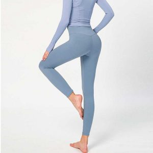 Compression running tights Naked feeling polyamide double-sides grinding brushed elastic hip-lifted high waist leggings