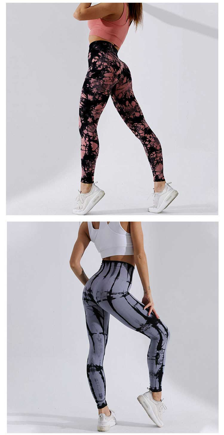 High waisted seamless gym leggings with camouflage jacquard design