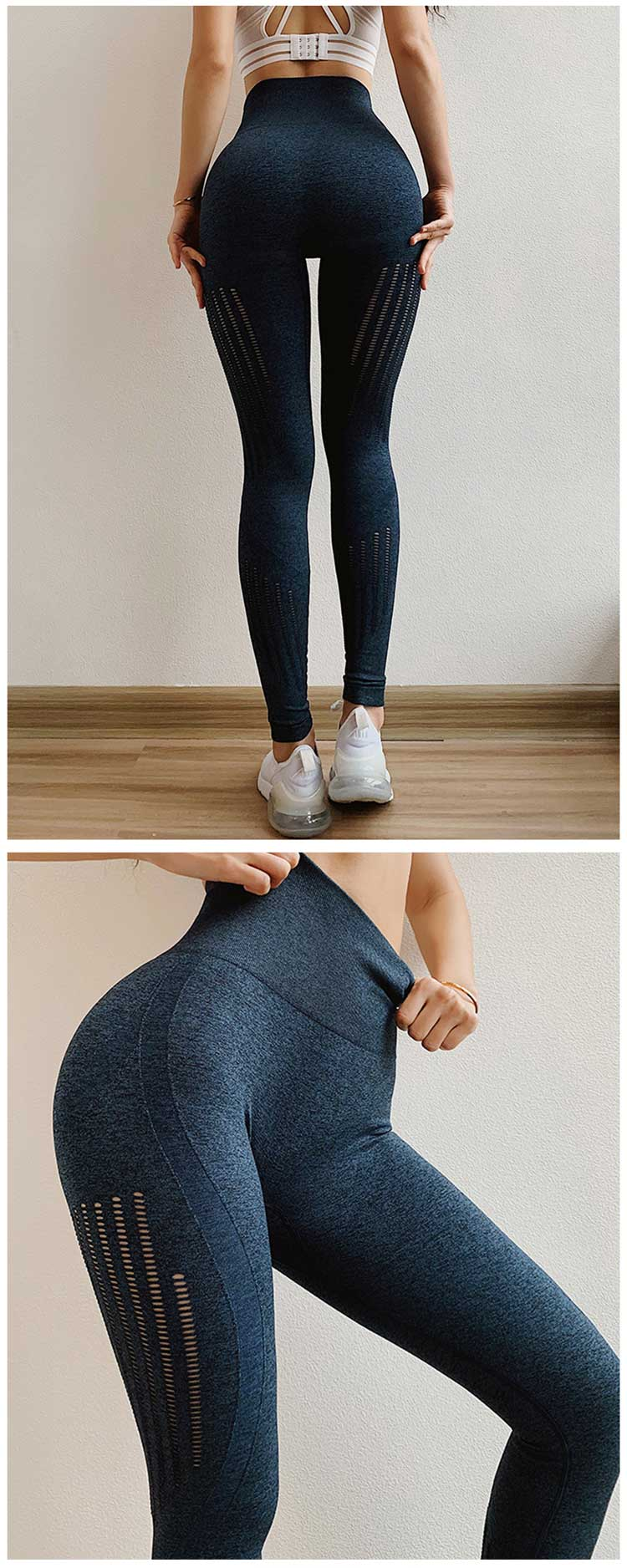 Navy-blue-Hollow-out-seamless-yoga-pants