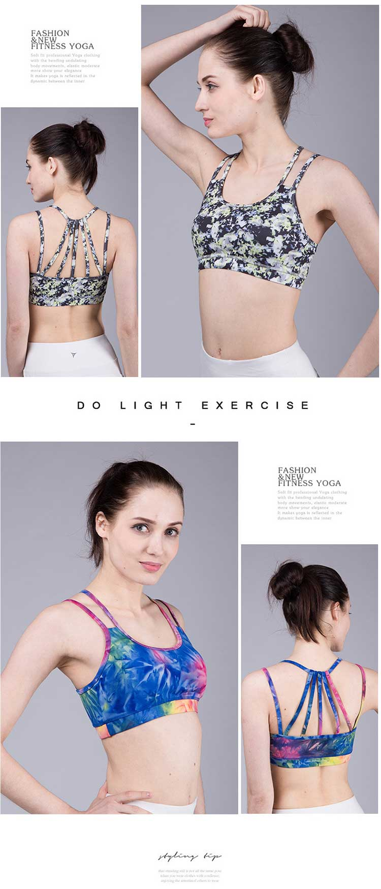 Printed bralette sports bra was born in such a background of demand. It adopts skin-friendly