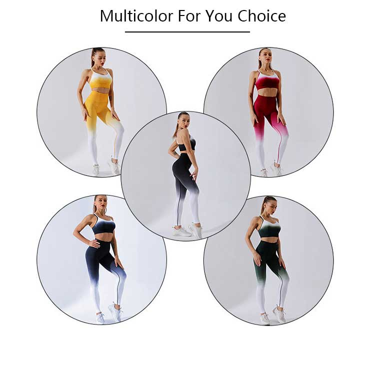 Womens seamless leggings with gradient color design