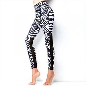 Zebra print mesh leggings fitness pants high waist tight elastic running sport pants