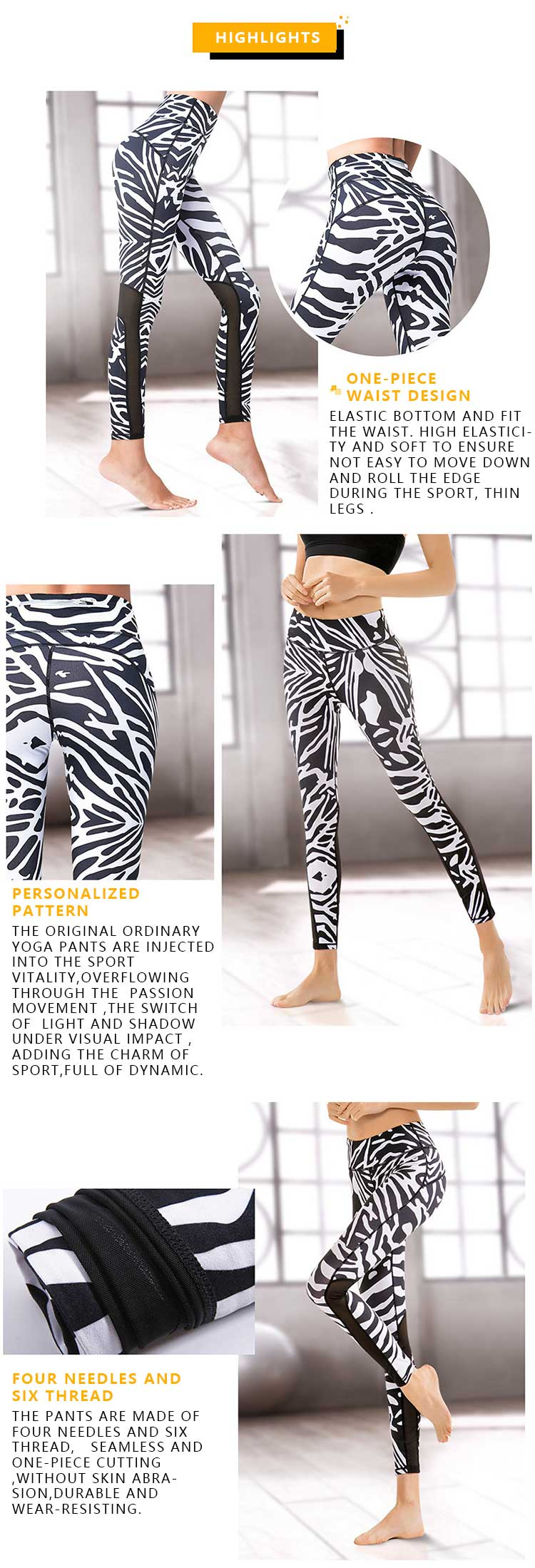 Zebra-print-mesh-leggings-product-highlights