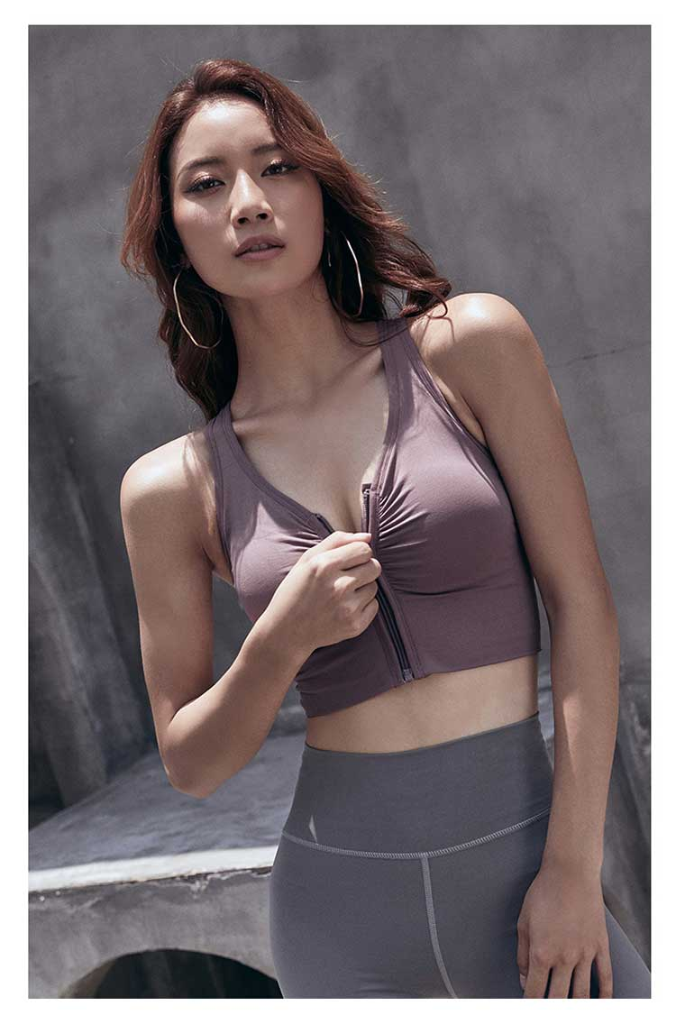 Zip front sports bra is indispensable in the female's sports and fitness life, which mainly has the protective effect to the breast