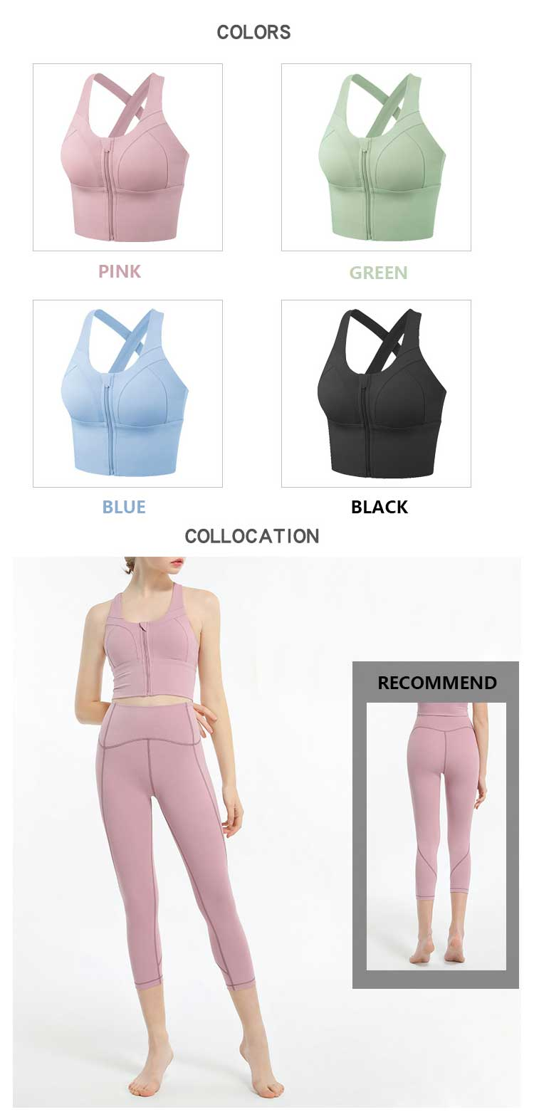 4 colors choice for Front closure sports bra with zip sports shockproof fitness bra