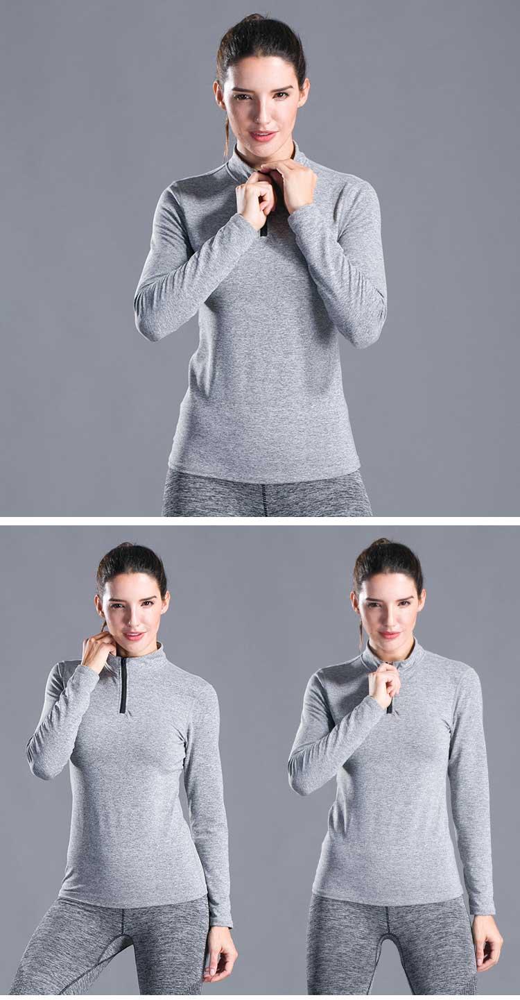 Elastic tight stand up collar high neck workout shirt