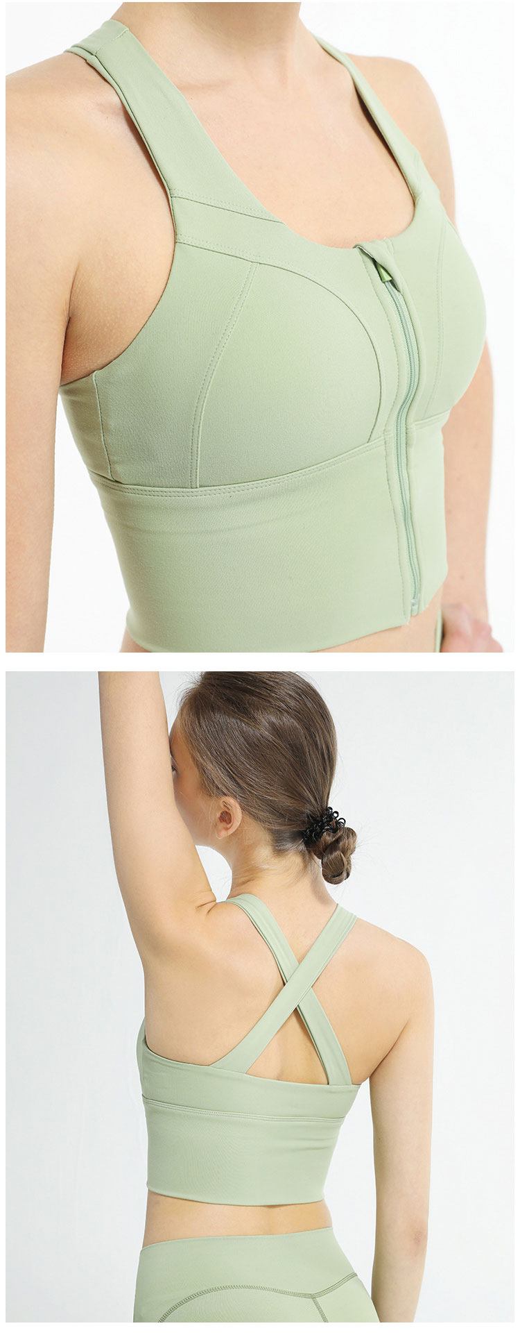 Front closure sports bra with zip comfortable and skin-friendly fabric