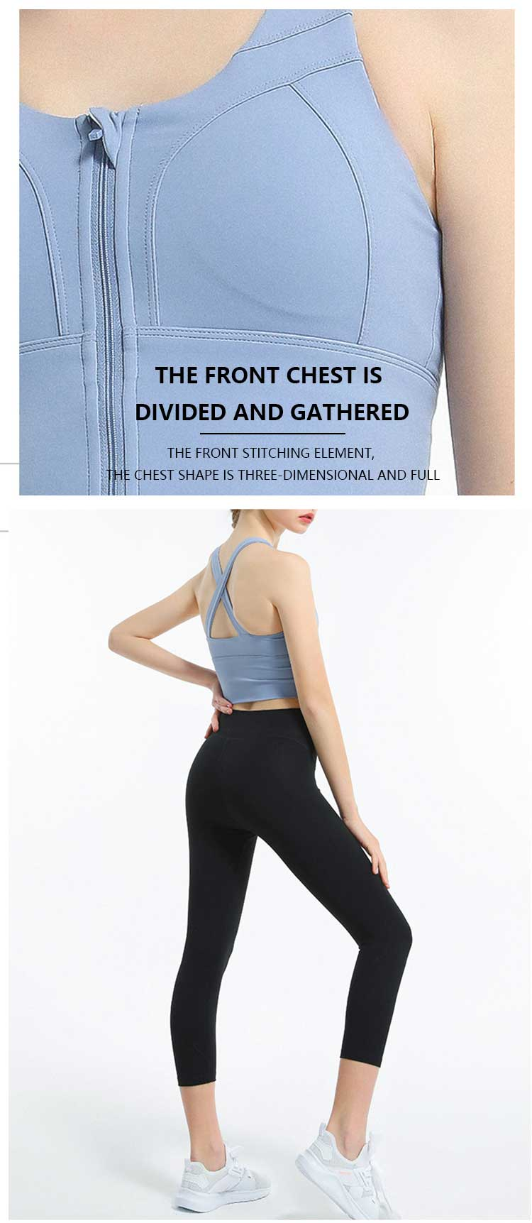 Front closure sports bra with zip front chest design