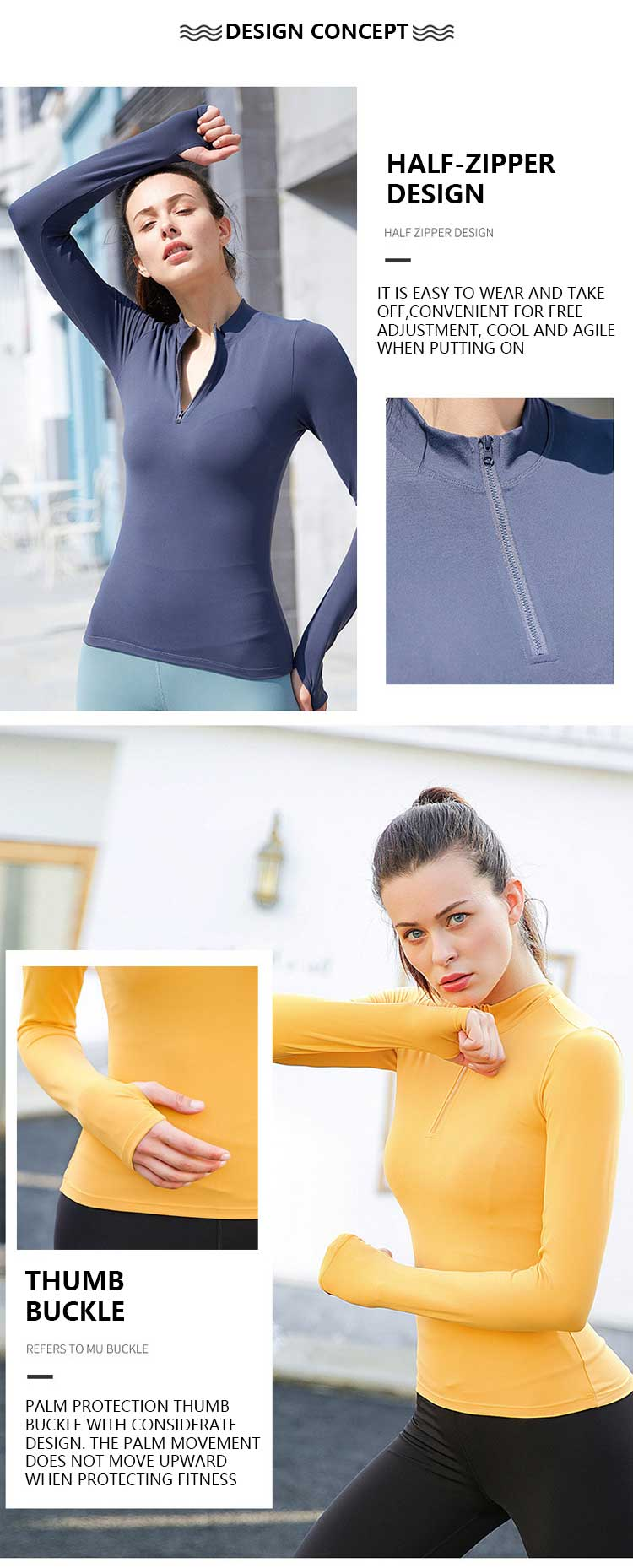 Long sleeve zip gym top design concepts of zipper and thumb