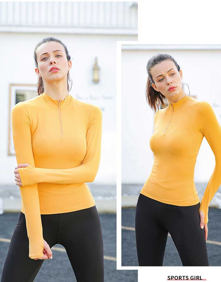 Long sleeve zip gym top four stitches and six threads without trace