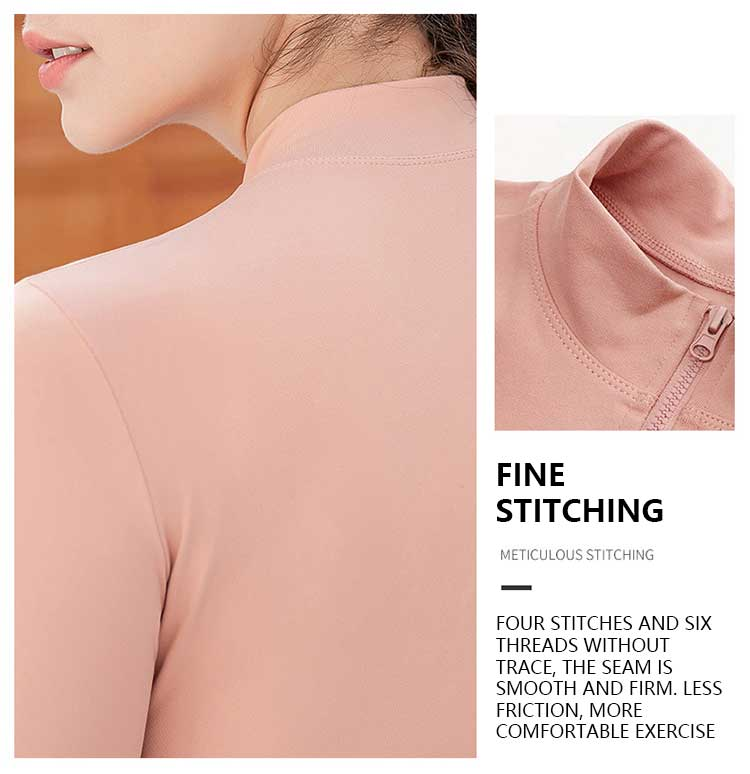 Long sleeve zip gym top with meticulous stitching