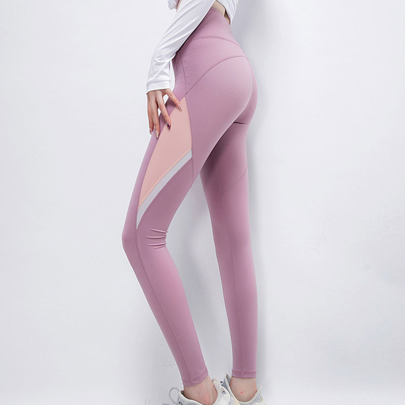 Patchwork sports leggings internet celebrity style sport fitness pants women's running leggings in fall elastic out-wear high-waist close belly yoga pants