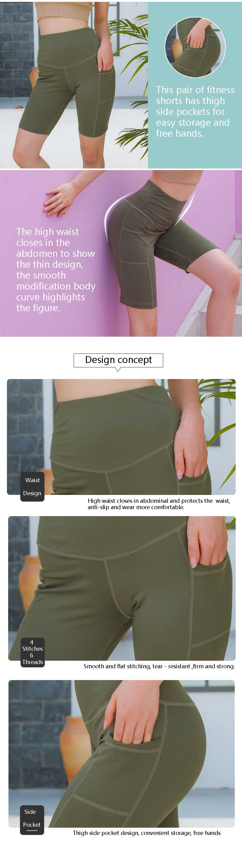 Running shorts with phone pocket design concepts