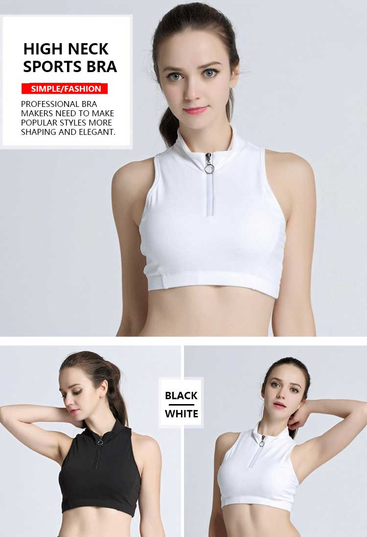 The combination of comfort and creative styling is key to the design of this high neck sports bra