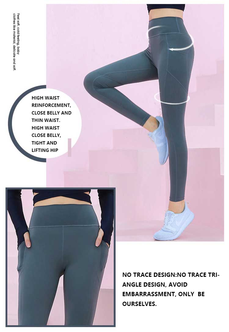 Workout pants with pockets high-waisted and good body shape design