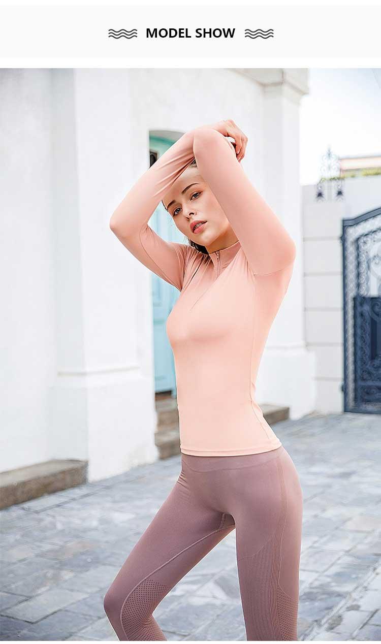 model showing long sleeve zip gym top