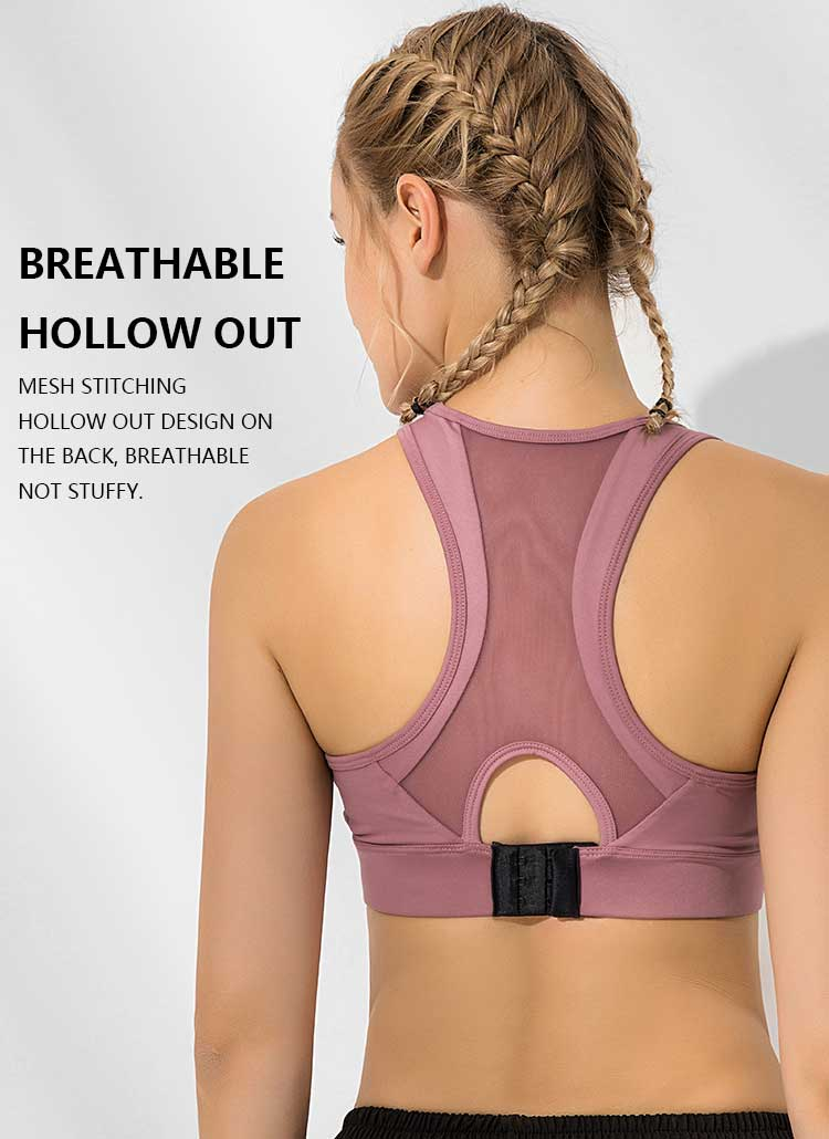 sports bra with back closure breathable hollow out design