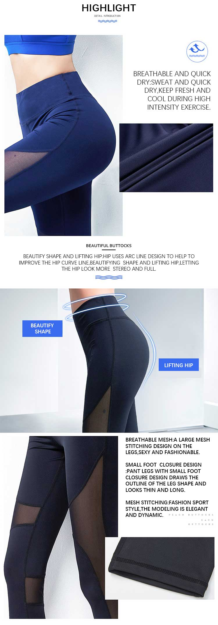 Mesh workout leggings product features