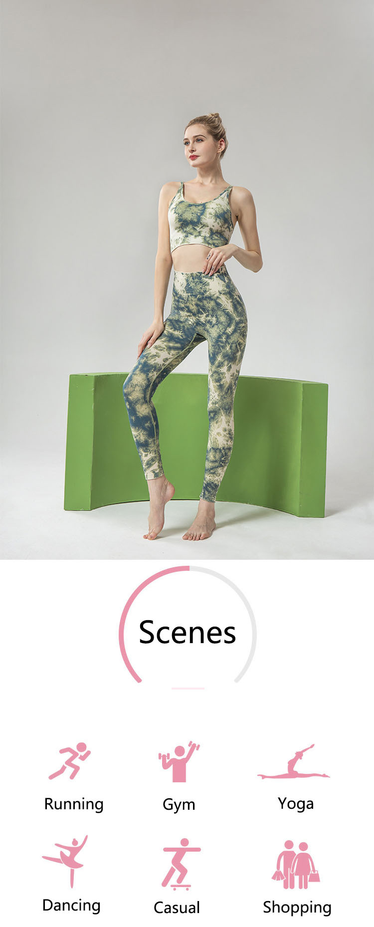 Tie dye workout leggings is called Zhaval, twisted, clipped and dyed in ancient times.