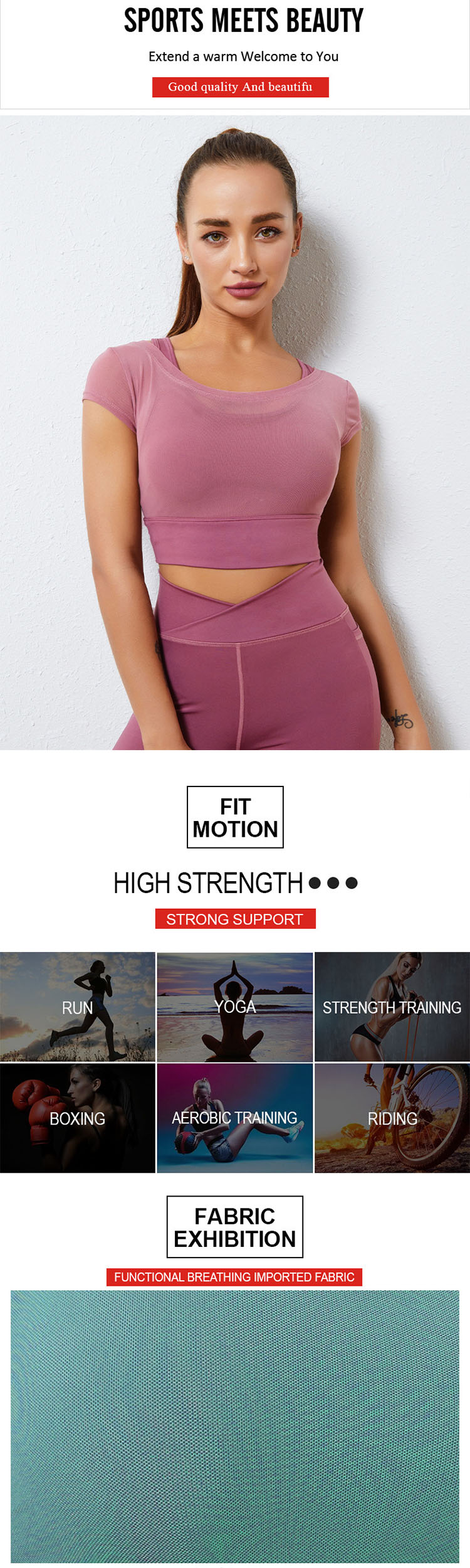 Fashion also likes to fudge. The fake two-piece design of the pink sports bra is very fashionable