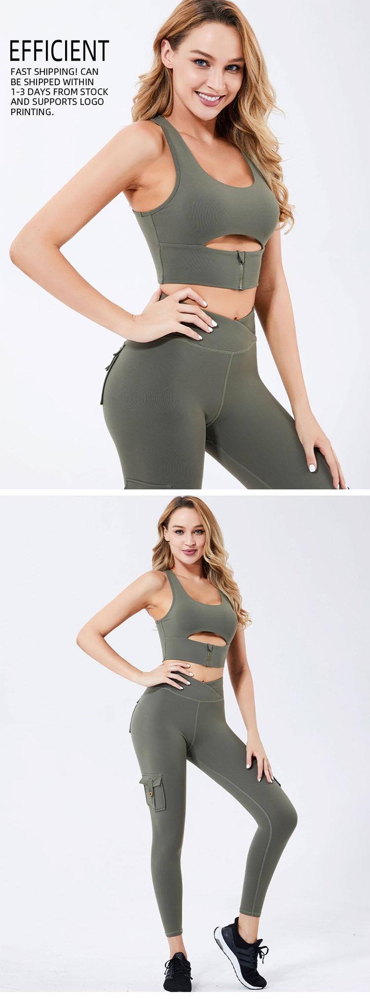 High-stretch fabric helps you build a sexy body.