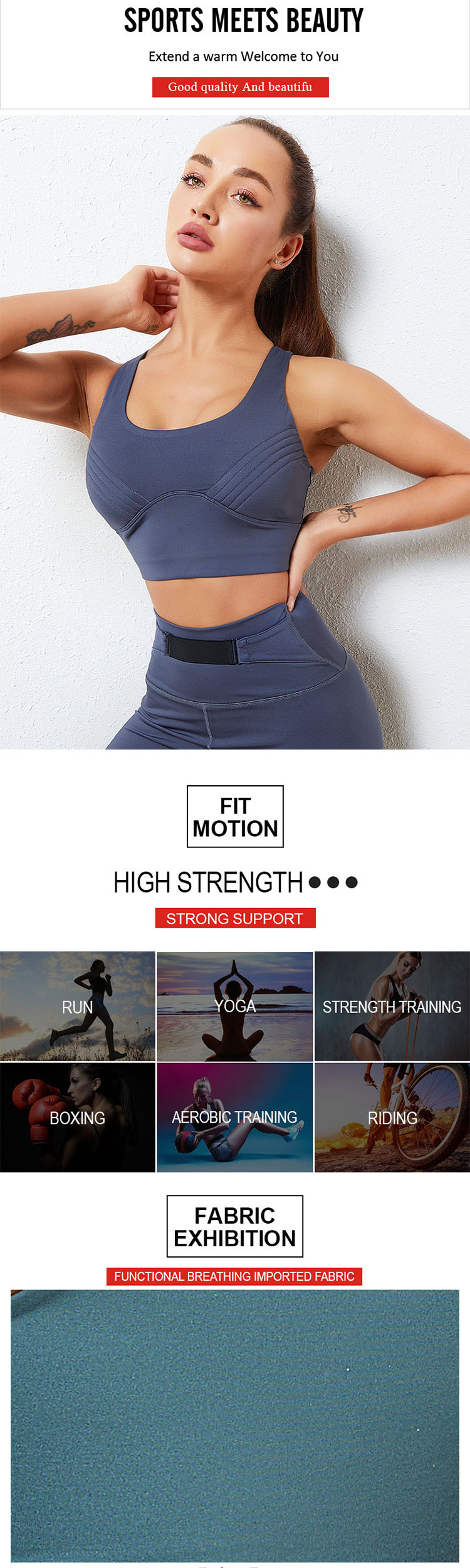 The high-strength shockproof Strapless sports bra is loved by consumers for its perfect I-shaped arc.