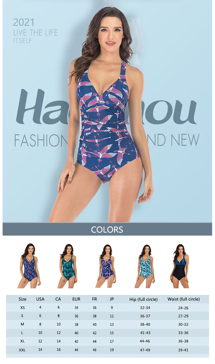 The contour of the leopard print swimsuit is highlighted by the edging of different colors