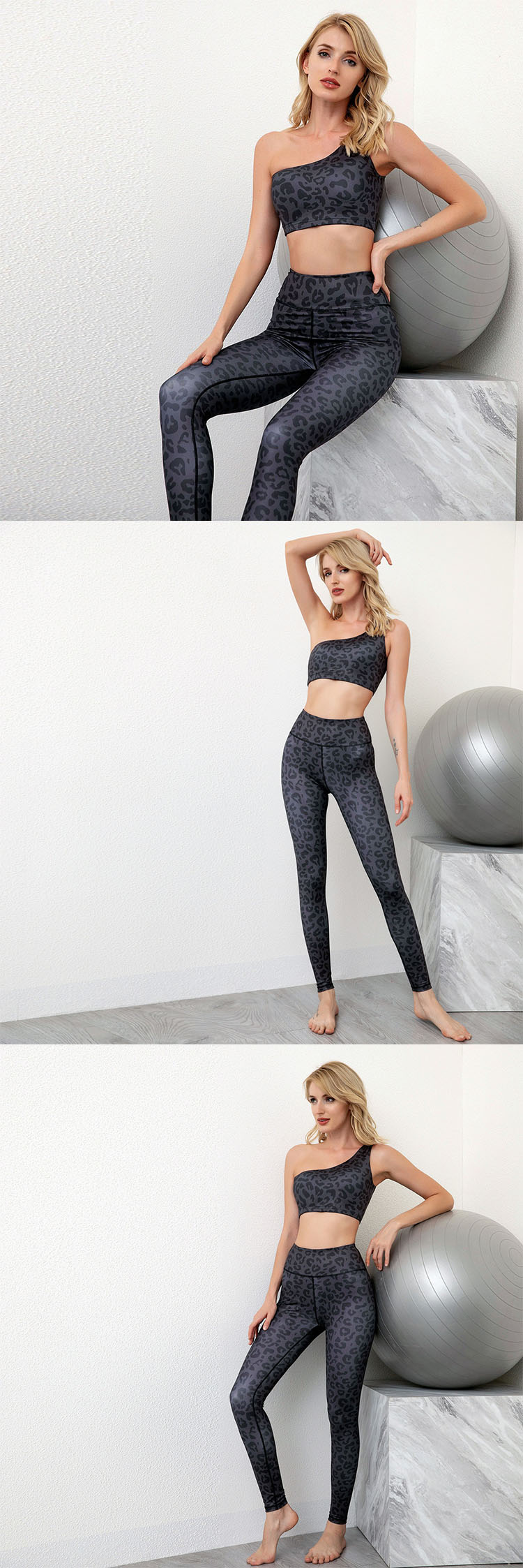 By streamlining the outline and reducing the color of the simple leopard print sports leggings