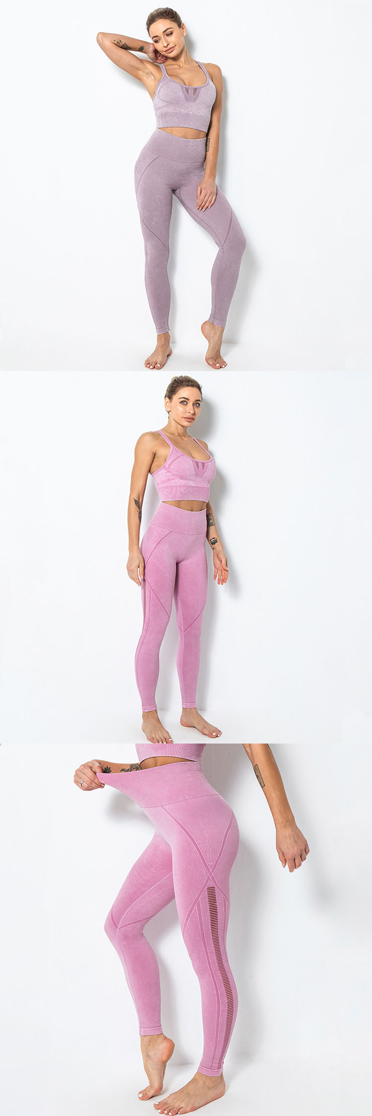 Knitted yoga pants have good tolerance, increase the texture and breathability of yoga pants.