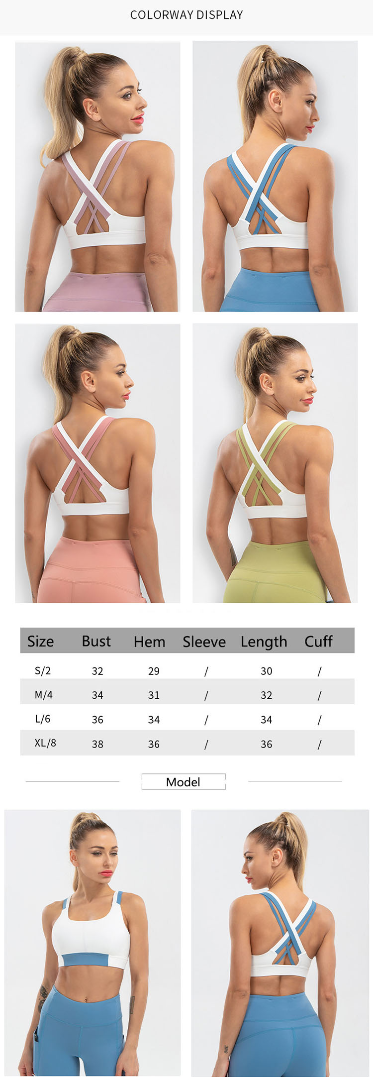 The full support sports bra is designed with no steel ring and no padding