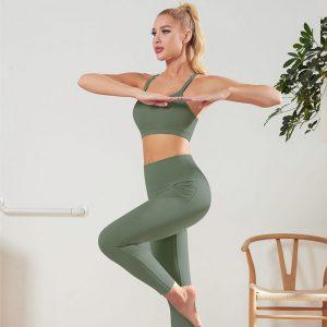 Yoga pants and sports bra