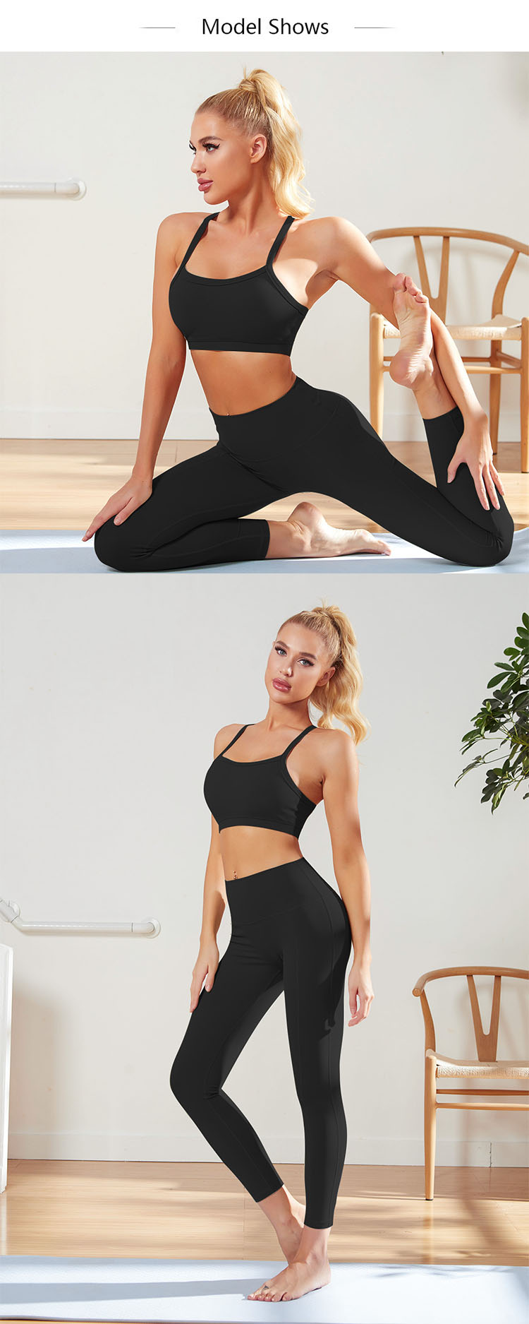 Yoga pants and sports bra are more youthful with the bright cut-off cardigan