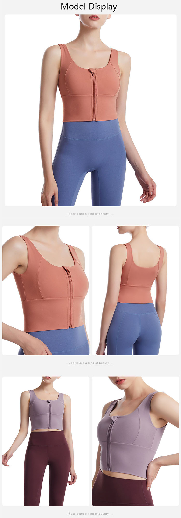 The front zipper design is easy to put on and take off, and has a fashionable sense.