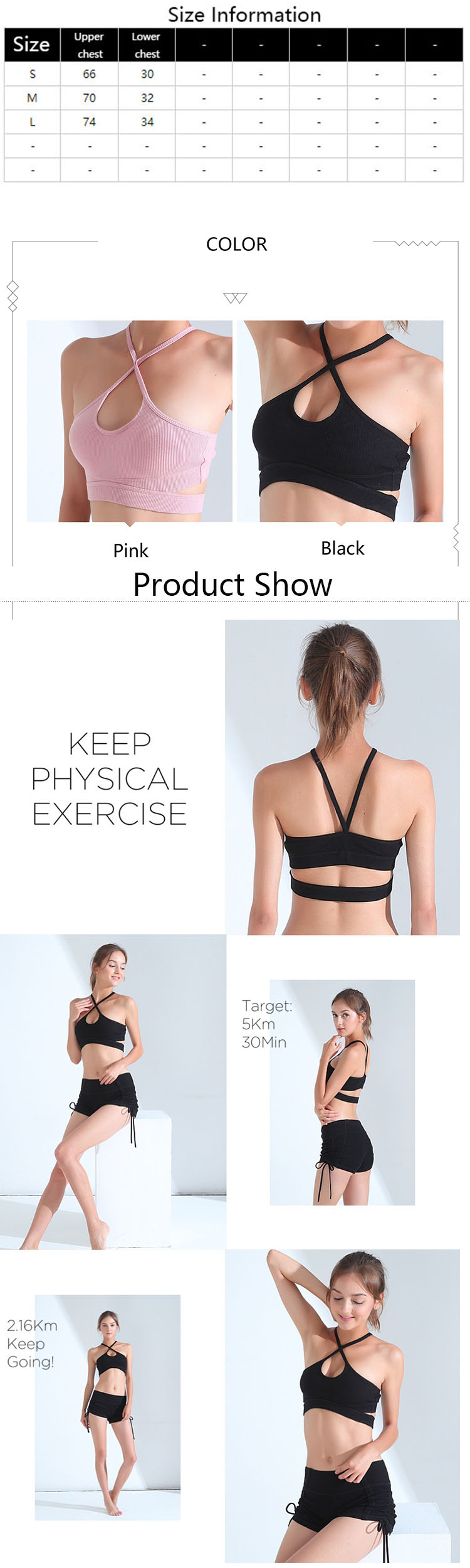 The workout bra uses a steel ring, a non-lineless design