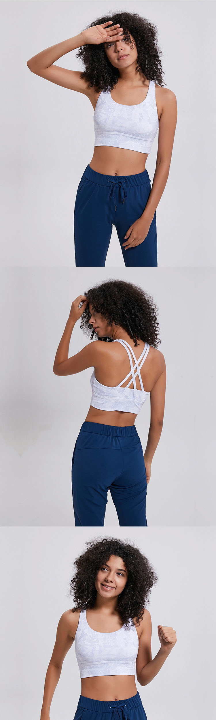 Stylish sports bra are processed by digital printing technology