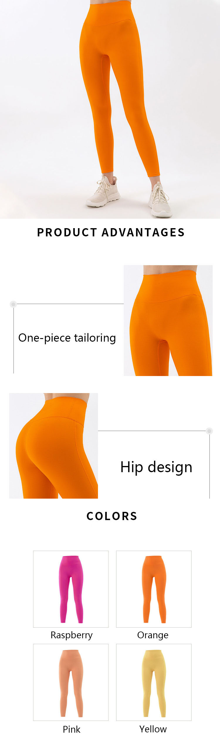The use of structure is the top priority of orange yoga pants design