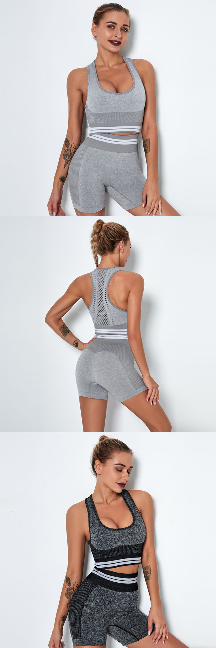Using sports fabric, comfortable and breathable. Quick-drying, wicking away sweat, non-sticky when exercising.