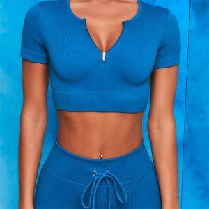 Blue sports bra