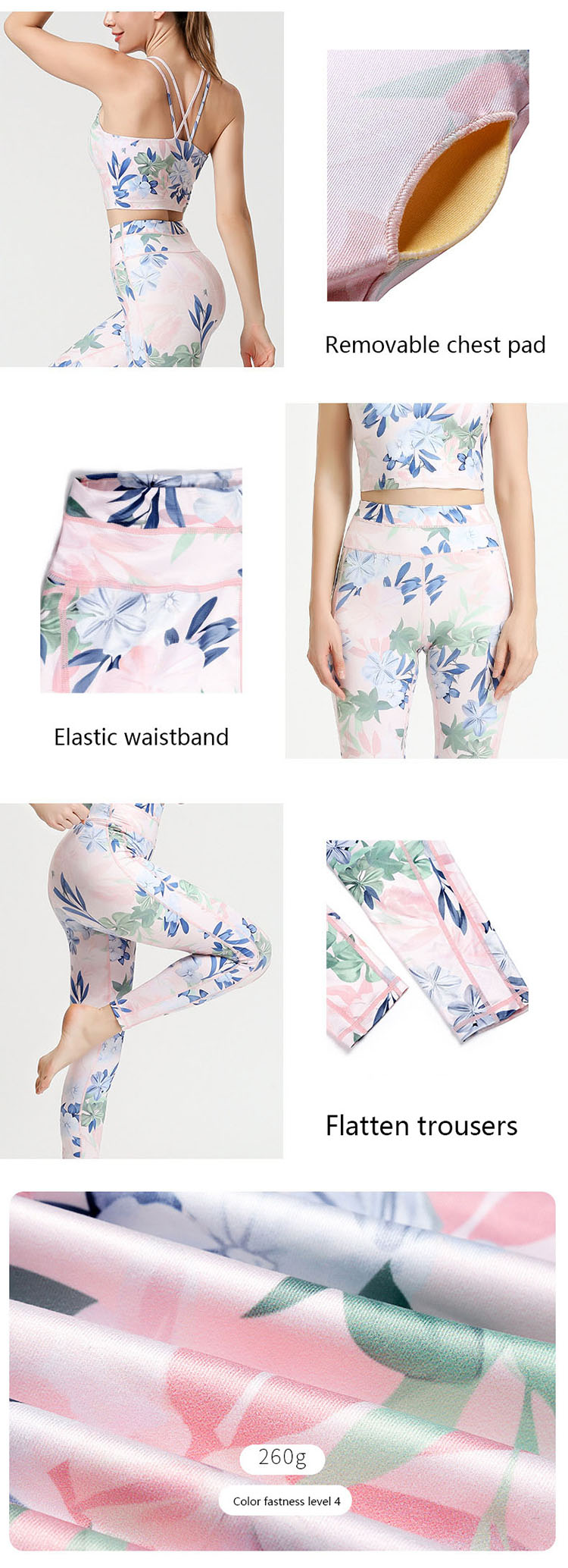 Flower yoga pants is a relatively common process in women's clothing design