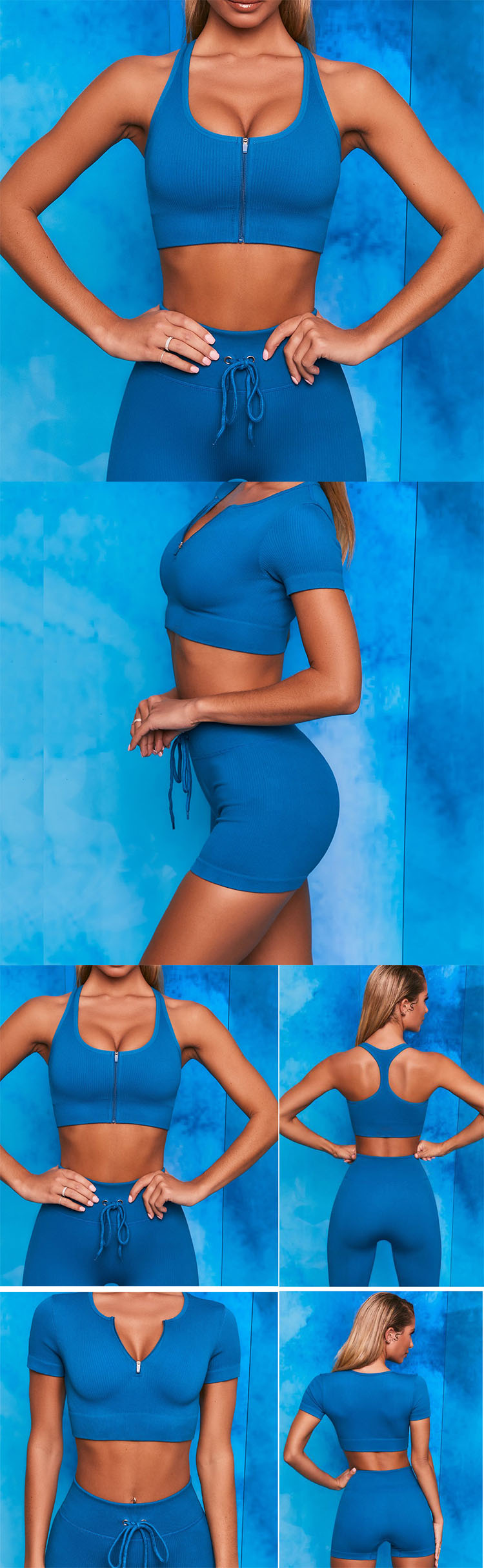 The drawstring in the blue sports bra is designed to form folds